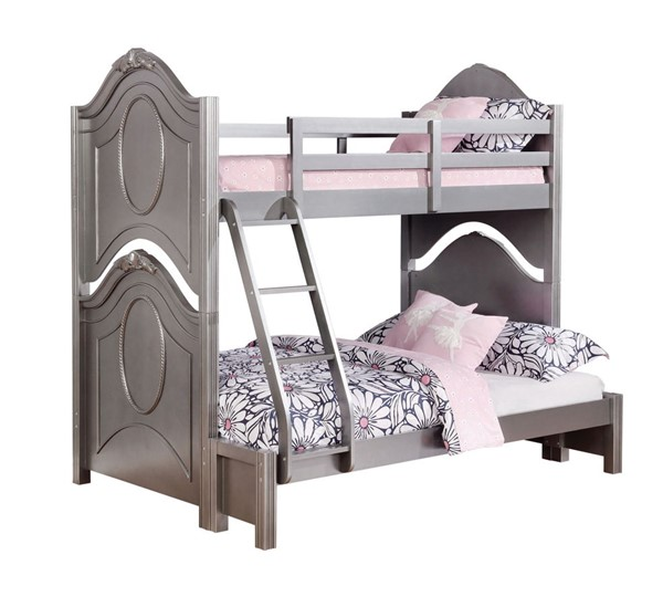 Coaster Furniture Valentine Metallic Pewter Twin Over Full Bunk Bed CST-461132