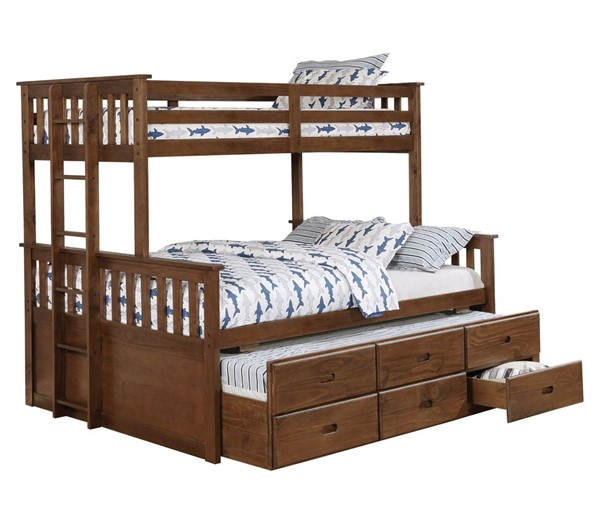 Coaster Furniture Atkin Weathered Walnut Twin Over Full Bunk Bed CST-461145