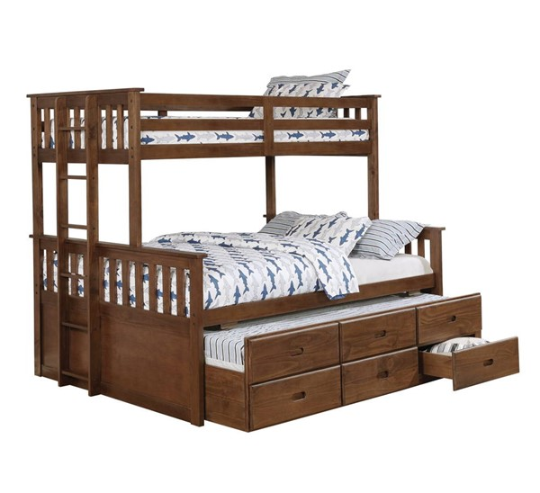 Coaster Furniture Atkin Weathered Walnut Twin XL Over Queen Bunk Bed CST-461147