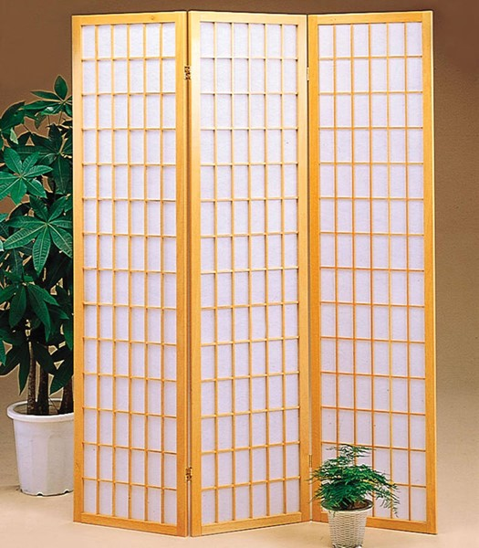 Natural Brown Wood 3 Panel Room Divider Folding Screen CST-4621