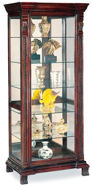 Traditional Cappuccino Wood Curio Cabinets CST-4715