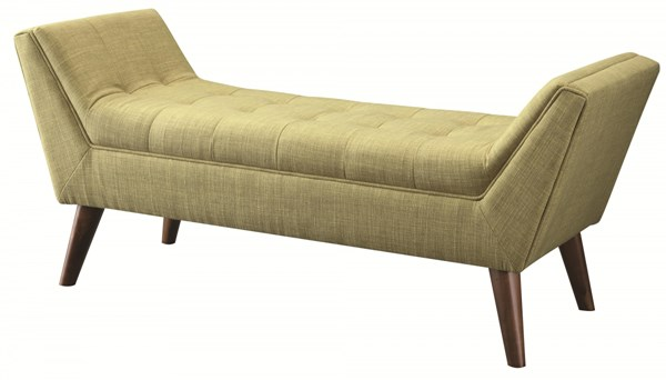 Retro Green Grey Fabric Wood Tufted Seat Benches CST-500006-08-VAR