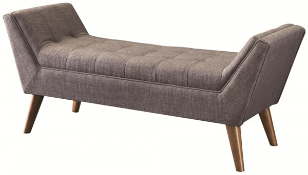 Retro Grey Fabric Wood Bench W/Tufted Seat CST-500008