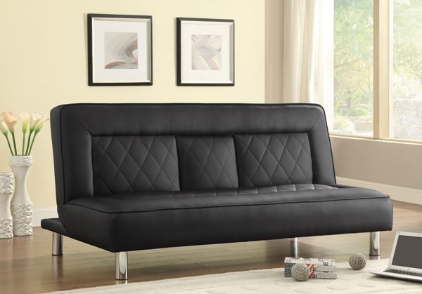 Black Faux Leather Armless & Tufted Back Sofa Bed CST-500010