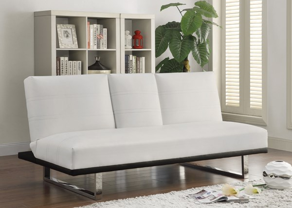 White Faux Leather Armless Cushion Back Sofa Bed CST-500030