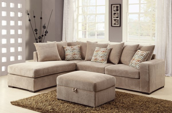 Olson Transitional Taupe Fabric Living Room Set CST-500044-LR