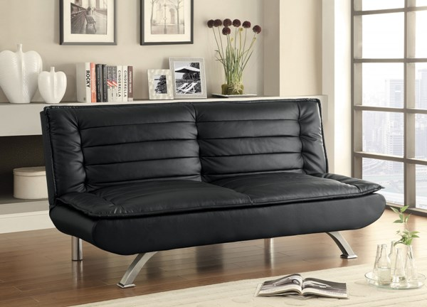 Black Faux Leather Cushion Back Armless Sofa Bed CST-500055
