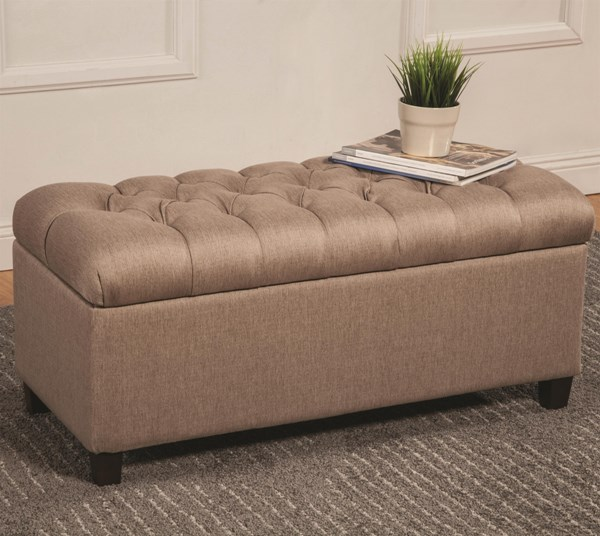 Taupe Mocha Navy Fabric Wood Storage Benches CST-500064-65-66-VAR