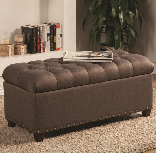 Mocha Fabric Wood Storage Bench w/Tufted Seat & Nailhead CST-500065