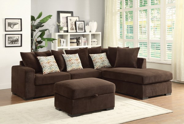 Olson Transitional Chocolate Fabric Sectional w/Ottoman CST-500086-146