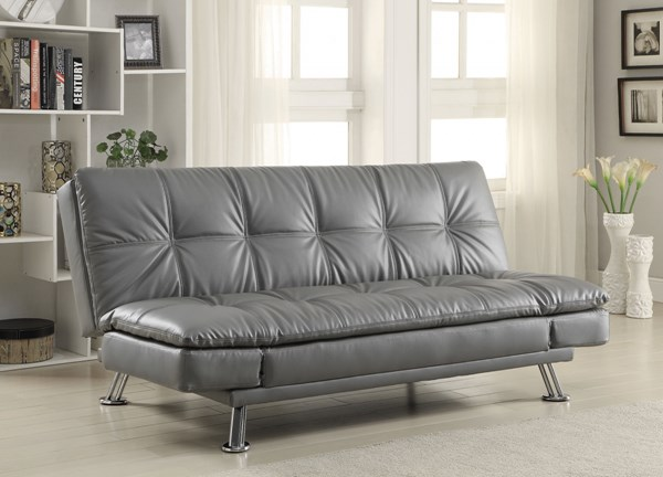 Dilleston Elegant Grey Faux Leather Armless & Tufted Back Sofa Bed CST-500096