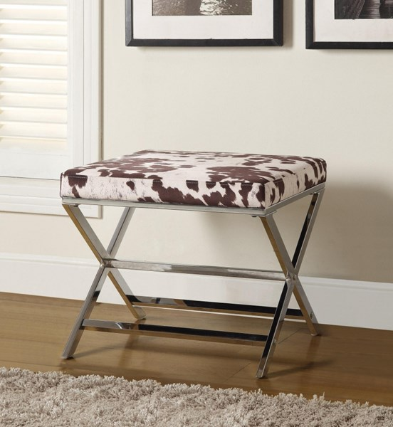 White Brown Bonded Leather Metal Ottoman CST-500118