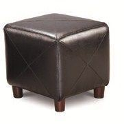 Black Faux Leather Vinyl Black Ottoman CST-500134