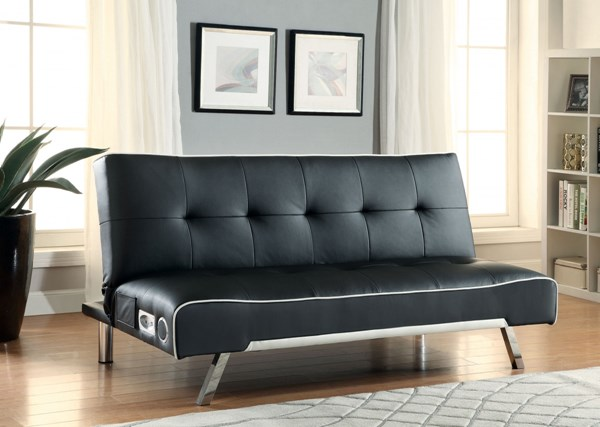Contemporary Black Faux Leather Sofa Bed CST-500139