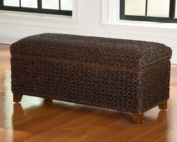 Laughton Modern Dark Brown Wood Banana Leaf Trunk CST-500217