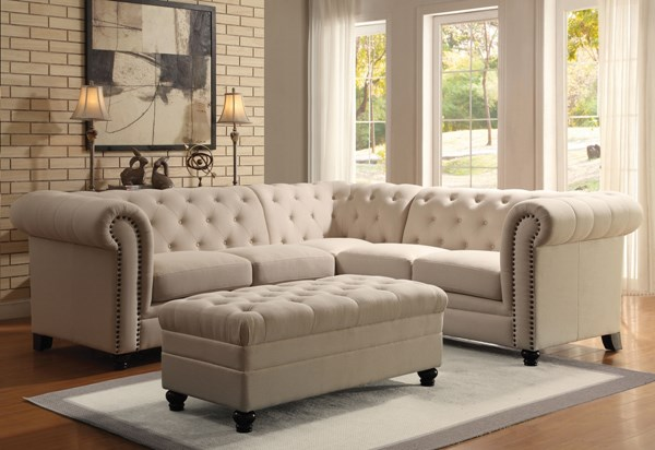 Roy Traditional Oatmeal Fabric Sectional w/Nailheads CST-500222-23-VER