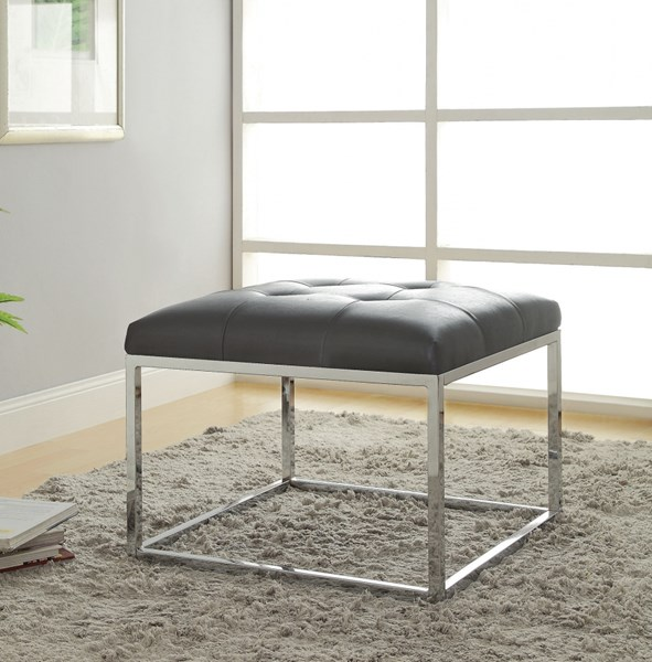 Contemporary Charcoal Leatherette Metal Ottoman CST-500226