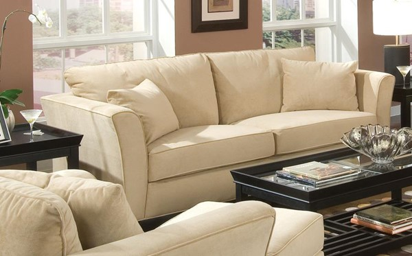 Park Place Casual Cream Velvet Fabric Sofa CST-500231