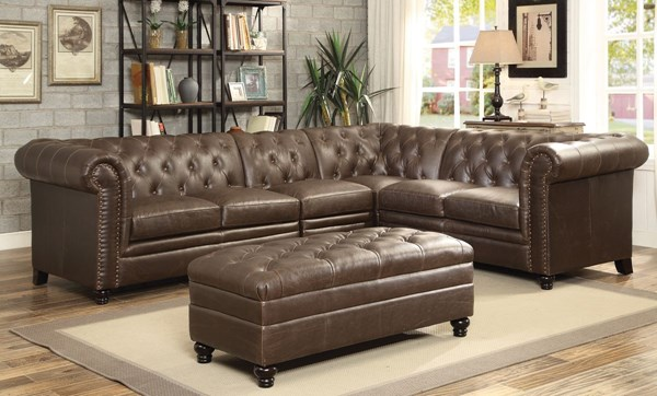 Roy Traditional Brown Faux Leather Sectional W/Ottoman CST-500268-69-AC-GRP