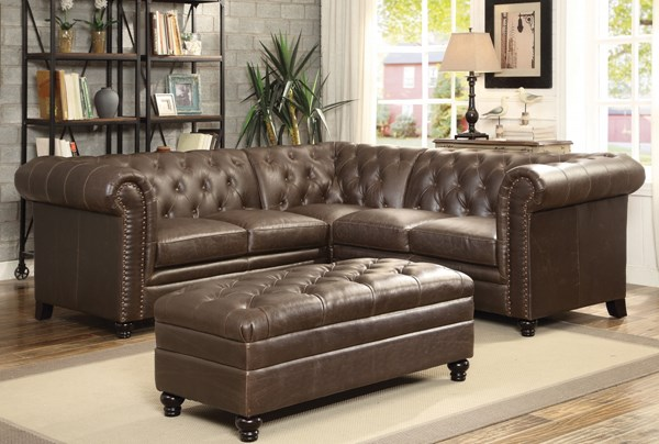 Roy Brown Faux Leather Sectional W/Ottoman CST-500268-69-GRP