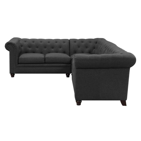 Coaster Furniture Roy Grey Linen Black Solidwood Sectional CST-500292