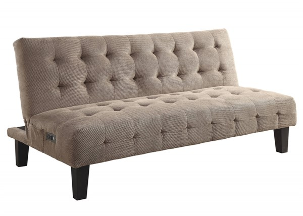 Taupe Textured Chenille Biscuit Tufted Seat & Back Sofa Bed CST-500295