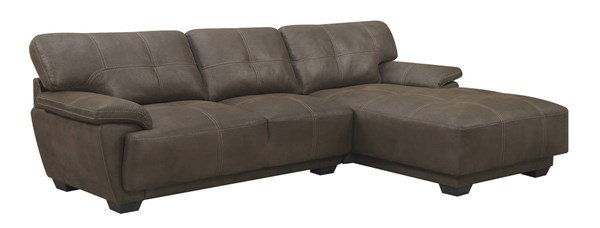 Murik Brown Padded Coated Microfiber Pocket Coil Seat Sectional CST-500325