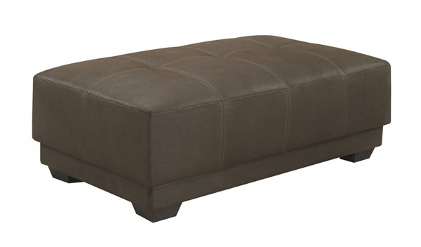Murik Brown Padded Coated Microfiber Pocket Coil Seat Ottoman CST-500326