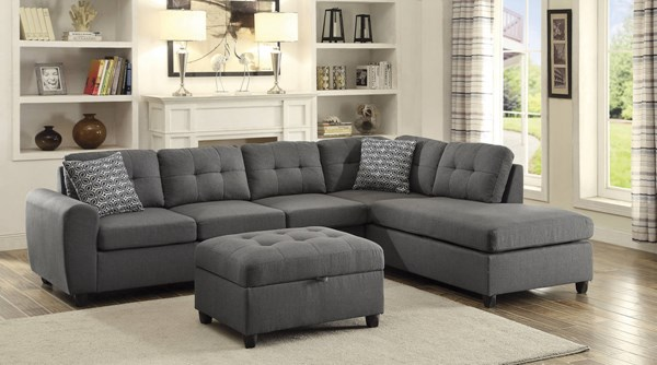 Stonenesse Grey Linen Fabric Pocket Coil Seat Sectional w/Ottoman CST-500413-14-SEC