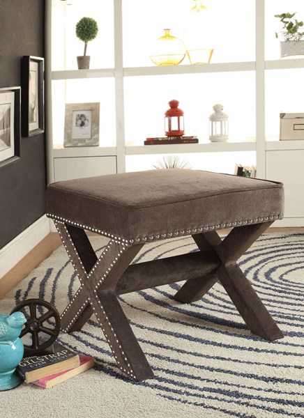 Ash Fabric Ottoman w/Upholstered Legs & Decorative Nailheads CST-500419