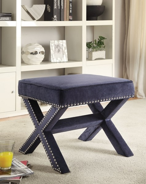 Navy Fabric Ottoman w/Upholstered Legs & Decorative Nailheads CST-500420