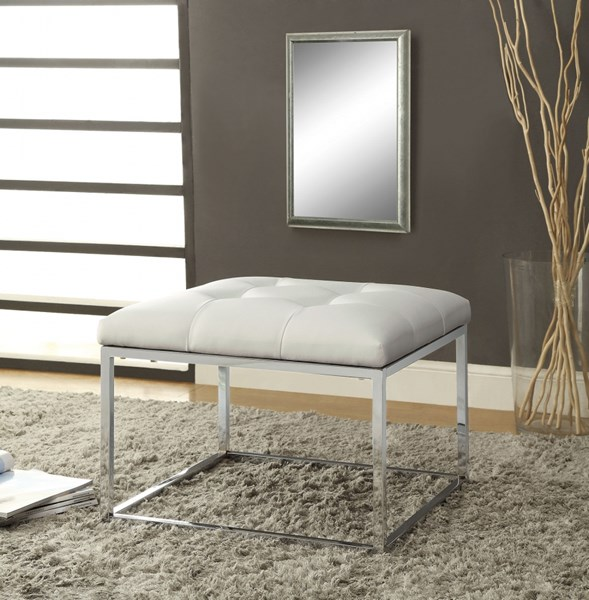 Contemporary White Faux Leather Metal Ottoman CST-500423