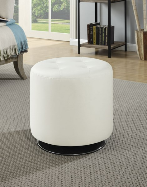 White Faux Leather Ottoman w/Swivel Mobility CST-500554
