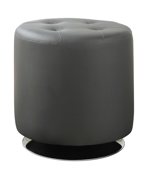 Coaster Furniture Grey Faux Leather Ottoman with Swivel Mobility CST-500555