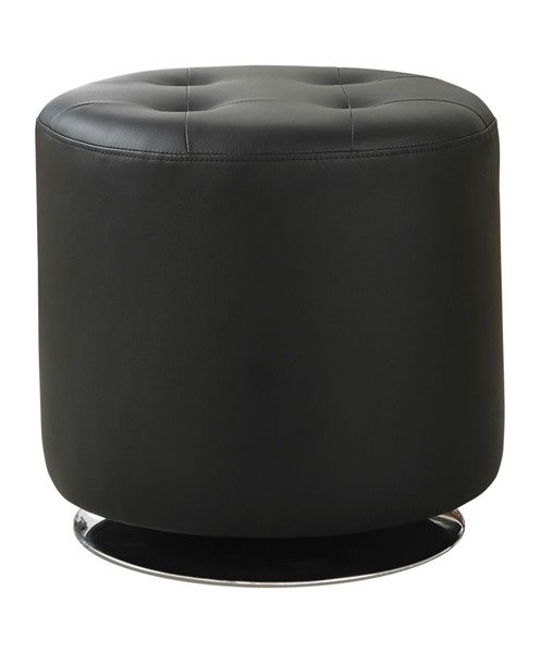 Coaster Furniture Black Faux Leather Ottoman with Swivel Mobility CST-500556