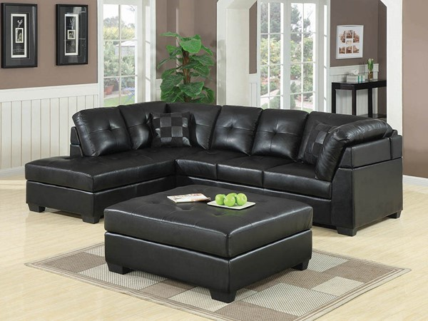 Coaster Furniture Darie Black Faux Leather Sectional CST-500606