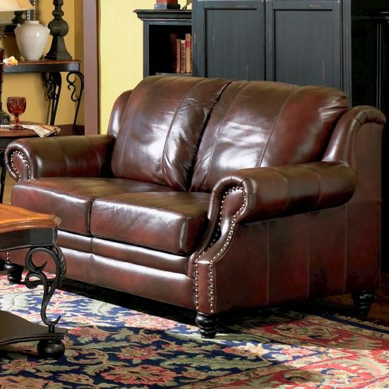 Princeton Brown Wood Leather Love Seat W/Nailheads CST-500662