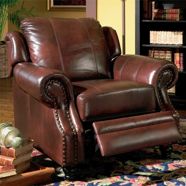 Princeton Brown Wood Leather Chair W/Nailheads CST-500663