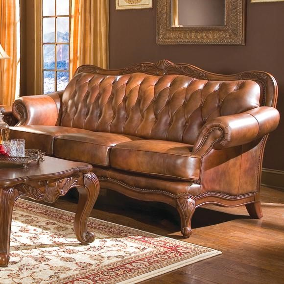 Victoria Classic Brown Wood Leather Sofa W/nailheads CST-500681