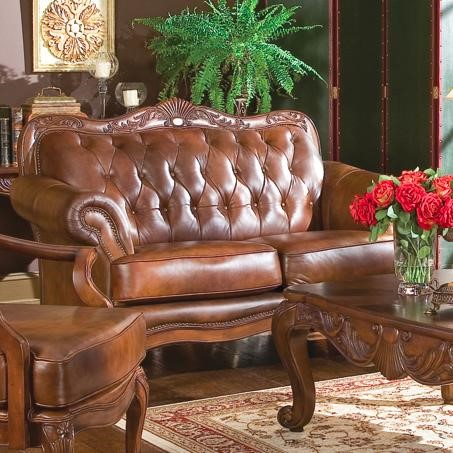 Victoria Classic Brown Wood Leather Love Seat W/Nailheads CST-500682