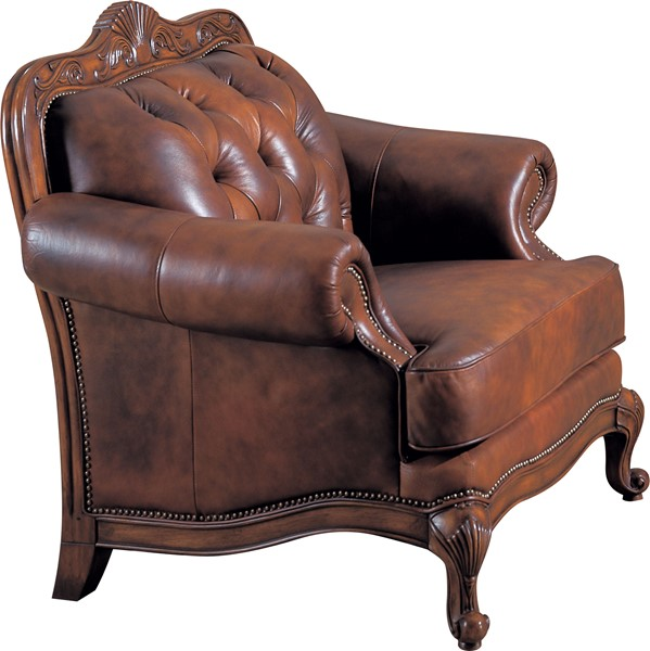 Victoria Classic Brown Wood Leather Chair W/nailheads CST-500683