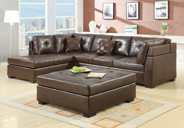 Coaster Furniture Darie Brown Faux Leather Sectional CST-500686