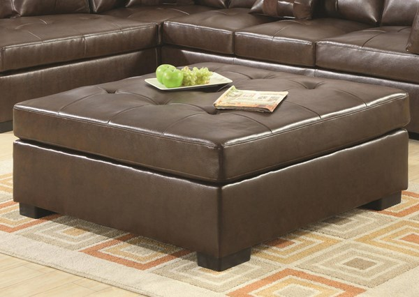 Coaster Furniture Darie Brown Faux Leather Ottoman CST-500687