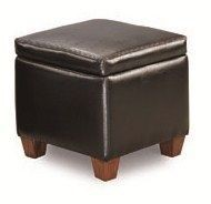 Black Vinyl Black Cocktail Ottoman CST-500902