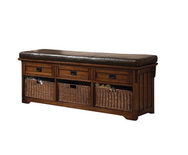 Medium Brown Wood Faux Leather 3 Drawers Bench CST-501060