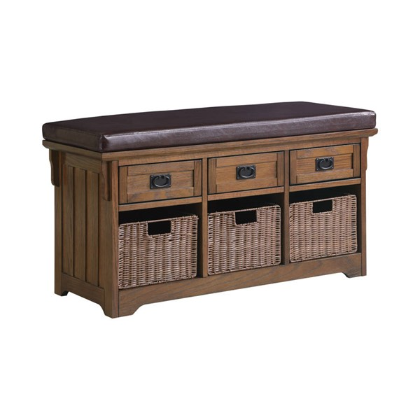 Coaster Furniture Medium Brown Wood 3 Drawer and 3 Basket Bench CST-501061