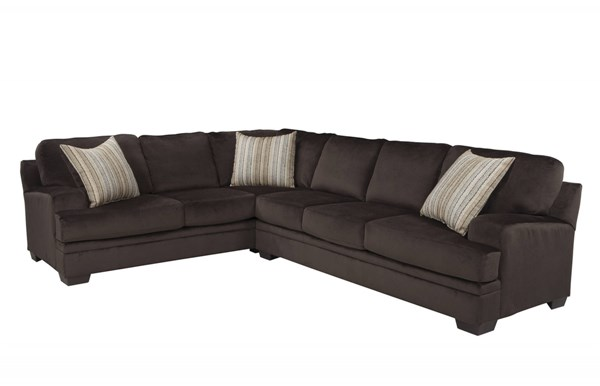 Robion Transitional Soft Padded Chocolate Velvet Track Arms Sectional CST-501147