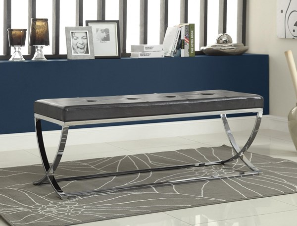 Contemporary Black White Faux Leather Metal Benches CST-501156-57-VAR