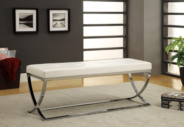 Contemporary White Faux Leather Metal Bench CST-501157