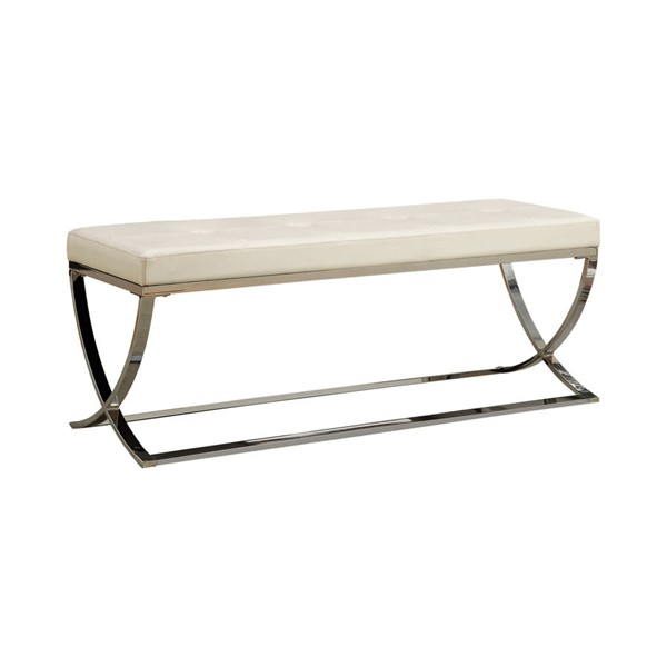 Coaster Furniture White Faux Leather Bench CST-501157